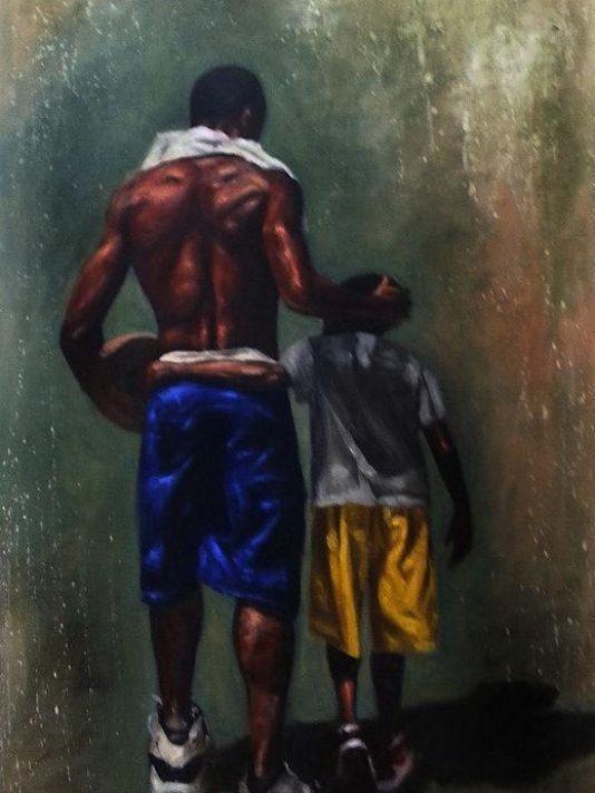 O amor da criança apontando para o pai...